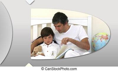 attentif, père, présentation, montage