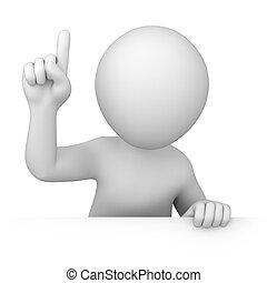 attention!, 3d, human, pontos, dedo, cima
