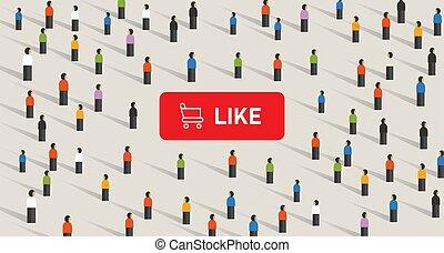 attention, achat, goûts, média, social, obtenir, foule., bouton, chariot