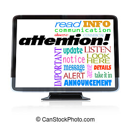 Attention Alert Announcement Words on HDTV Television - A ...
