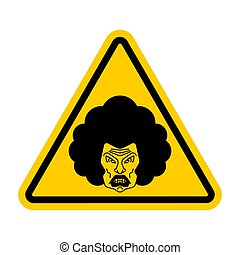 Attention angry wife. Caution grumpy woman. Yellow road sign danger.