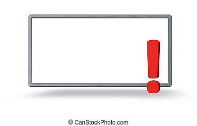 attention - blank frame and exclamation mark on white...