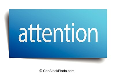 attention blue square isolated paper sign on white