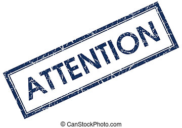 attention blue square stamp