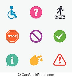 Attention caution icons. Information signs.