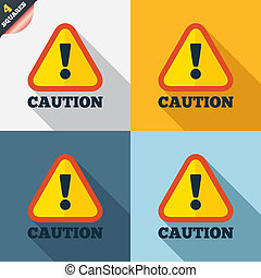 Attention caution sign icon. Exclamation mark. Hazard ...