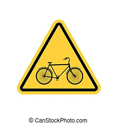 Attention cyclist. bicycle on yellow triangle. Road sign Caution bicyclist