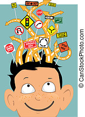 Tangled roads with confusing traffic signs coming out of a boy's head as a metaphor for attention deficit disorder