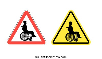 Attention disabled on wheelchair. Warning sign about  person in wheelchair. Red and yellow road sign.