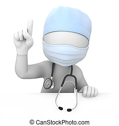 attention! doctor points finger up. image with a work path
