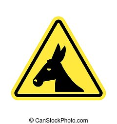 Attention donkey driving. jackass on yellow triangle. Road...