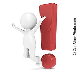 Attention - 3D Little Human Character jumping infront of an...