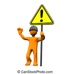 Attention - Orange cartoon character with hardhat and...