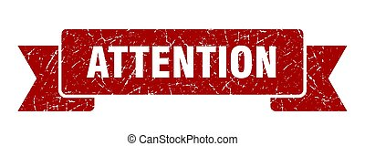 attention grunge ribbon. attention sign. attention banner