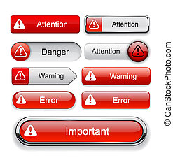Attention red design elements for website or app. Vector eps10.