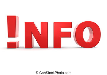 Attention - Info in Red - red glossy word INFO - letter I is...