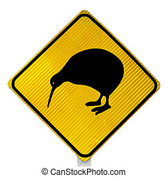 New Zealand Road Sign: Attention Kiwi Crossing isolated on white background