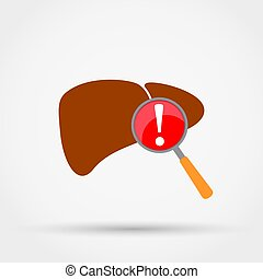 Attention! Liver disease vector icon.