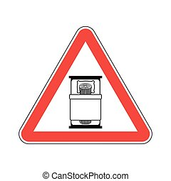 Attention log in bed. Caution bad. Vector Warning red road Sign