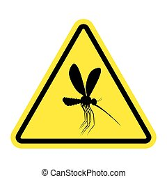 Attention mosquito. midge in yellow Triangle. Warning road...