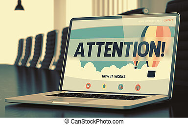 Attention on Laptop in Conference Hall. 3D.