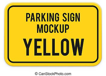 Attention parking sign mockup.