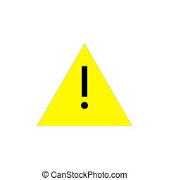 Attention pictogram. Yellow triangle with exclamation mark. Alert icon. Vector illustration isolated on white background