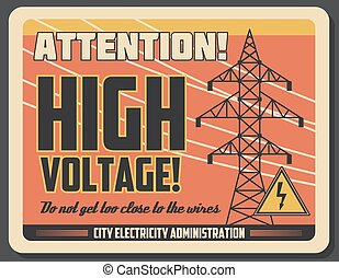 Attention retro banner for high voltage precaution - High...