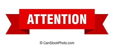 attention ribbon. attention isolated sign. attention banner