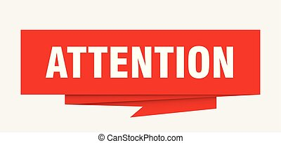 attention sign. attention paper origami speech bubble....