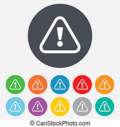 Attention sign icon. Exclamation mark. Hazard warning symbol. Round colourful 11 buttons.