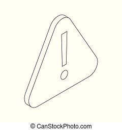 Attention sign icon, isometric 3d style