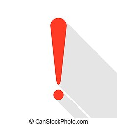 Attention sign illustration. Red icon with flat style shadow path.