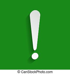 Attention sign illustration. Vector. Paper whitish icon with soft shadow on green background.