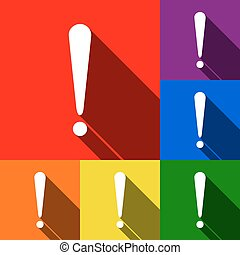 Attention sign illustration. Vector. Set of icons with flat shadows at red, orange, yellow, green, blue and violet background.