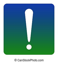 Attention sign illustration. Vector. White icon at green-blue gradient square with rounded corners on white background. Isolated.