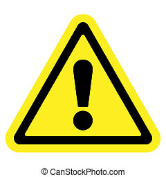 Hazard warning attention sign. Icon in a yellow triangle with exclamation mark symbol, isolated on a white background. Traffic symbol. Stock illustration