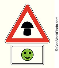 Attention sign with optional label and smiley
