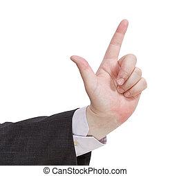 attention, -, signe, geste, main