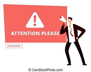 attention, s'il vous plaît, vecteur, gabarit, homme affaires, porte voix, bannière