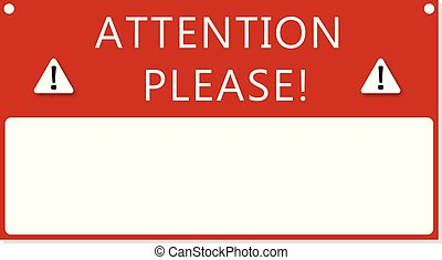 Attention text frame . Important notice message red banner .