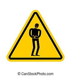 attention, triangle, détresse, pain., signe jaune, prudence...