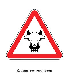 Attention Wolf in sheep's clothing. Warning red road sign. ...