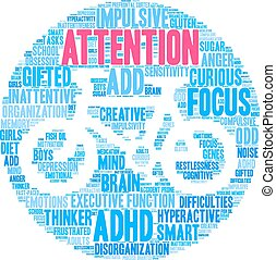 Attention Word Cloud - Attention ADHD word cloud on a white...