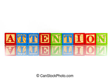 attention word reflection on white background