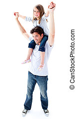 Attentive father giving his daughter piggyback ride