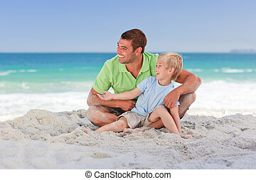 Attentive father with his son at th