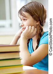 Attentive student - Portrait of pretty girl at workplace...