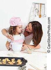 attento, cottura, madre