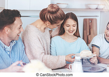 attento, famiglia, sweetest, madre, torta, divertente